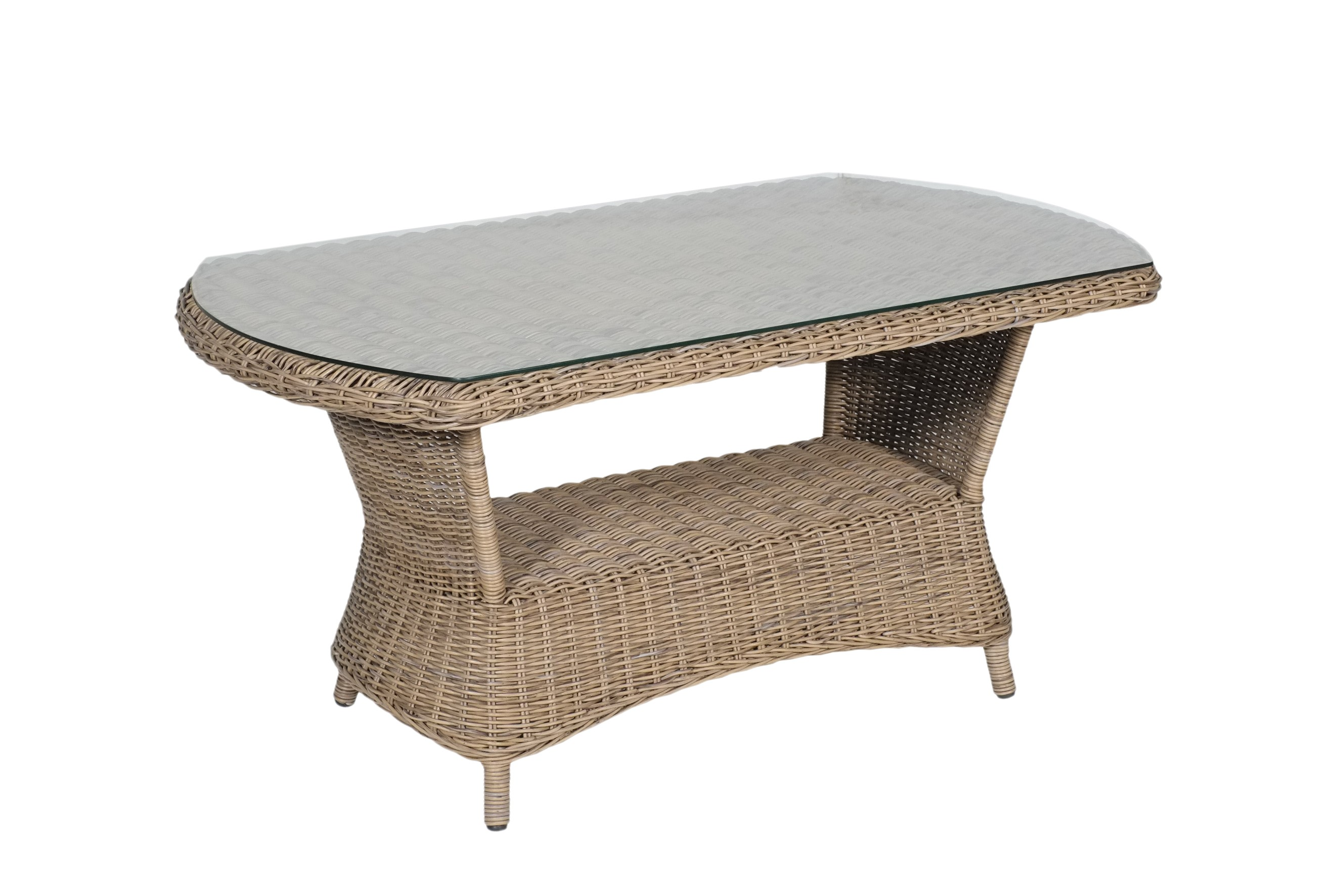 Newport Boat Shaped Coffee Table with 5mm Temmpered Glass ...