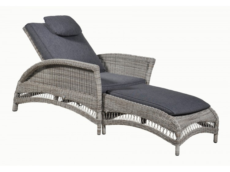 Harvard Sunlounger: Big Chair + Foot Stool with manual recliner