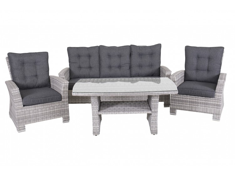Hacienda three seat high back sofa with recliner and table in the middle