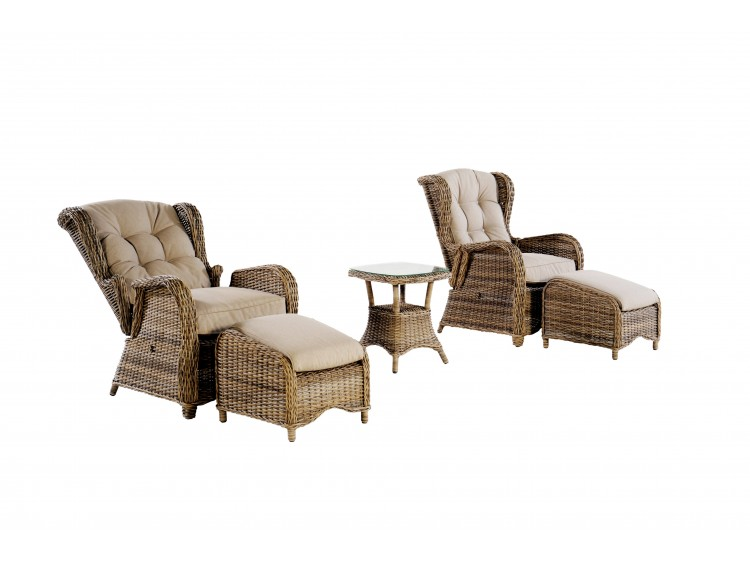 Cobra Recliner Set, 2 Chair + 10 cm of Cushion + 2 FS + 1  Round  Square Side Table
