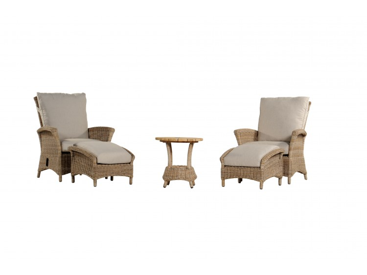 Yale Recliner Set of 2 Chair  with 10 cm Cushion  (Full Weaved) + 2 Fot Stool + 1 Round Table with Teak Top