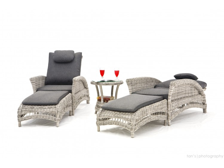 Harvard Sunlounger Set of 2 Big Chair with gas recliner + 2 FS + Round Side table