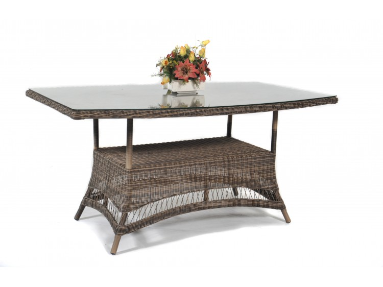 Portland Boat Shape Table + 5mm Tampered Glass